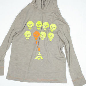 Circo Light Knit Hoodie Gray With Green And Orange